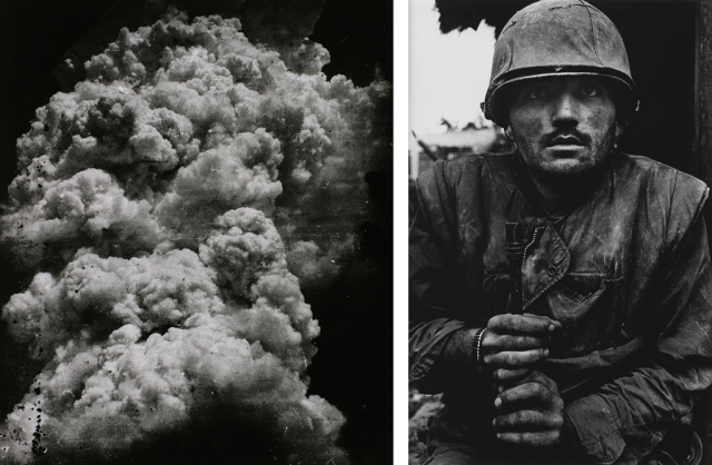 Hiroshima Moushroom cloud by Toshio Fukada and shell shocked US marine by Don McCullin