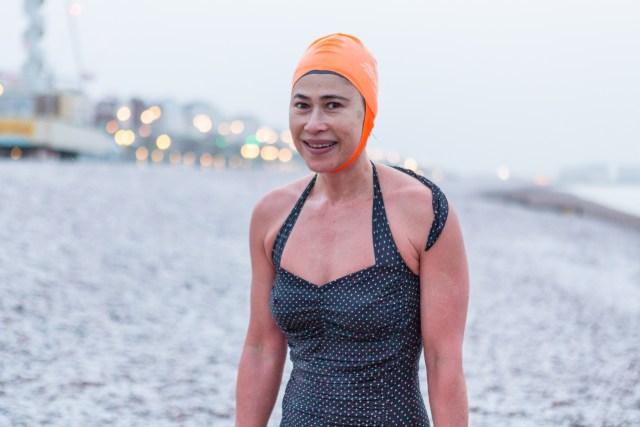 Lydia - Brighton Swimming Club member in the snow