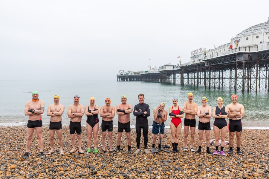 Michael Portillo and members Brighton swimming cub by Kevin Meredith