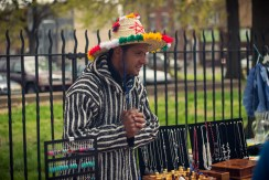 Vendor with fancy hat