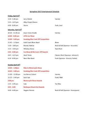 2017 SpringFest Stage Schedule