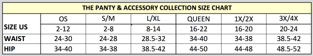 Lingerie Size Charts