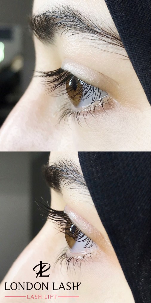 Lash lift effect on natural lashes