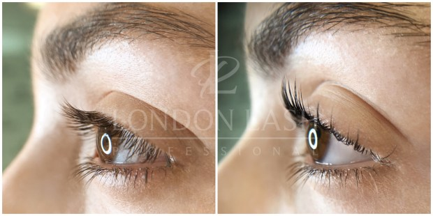 Before and after Lash Filler treatment showing the lift and curl to natural lashes from the side view. Natural lashes are visibly curlier