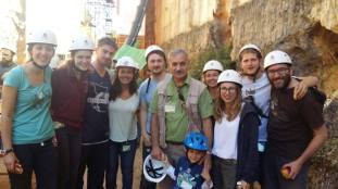 Student fieldwork in Atapuerca, Spain. UCL students pose with Maria Martinon-Torres and Jose-Maria Bermudez de Castro at the site of their excavation in Atapuerca. Image by Michael Hanks.