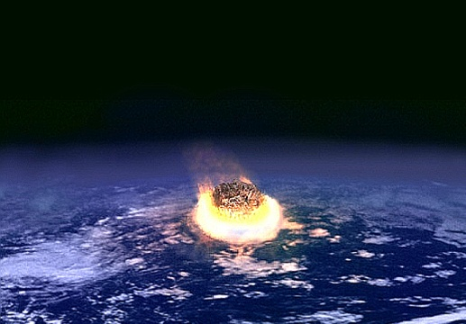 Artist's impression of the meteorite impact suggested to have caused the mass extinction event at the K-Pg boundary.