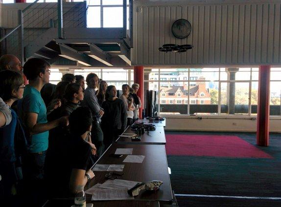 Cohort 3 learning to use drones with KCL Geography. Image by Almudena Sanchez de la Muela Garzon.