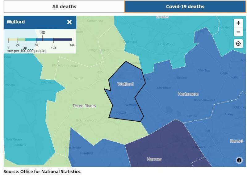 ONS data for Harrow COVID-19 Deaths