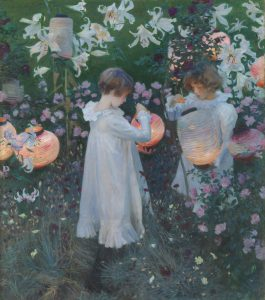 John Singer Sargent, Carnation, Lily, Lily, Rose, 1885-186, oil paint on canvas, 1740 x 1537 mm