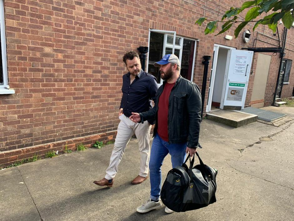 Australian actor Robert Roworth with British actor Johnny Kinch leaving John Skillen Martial Arts and Fitness Center in Loughborough