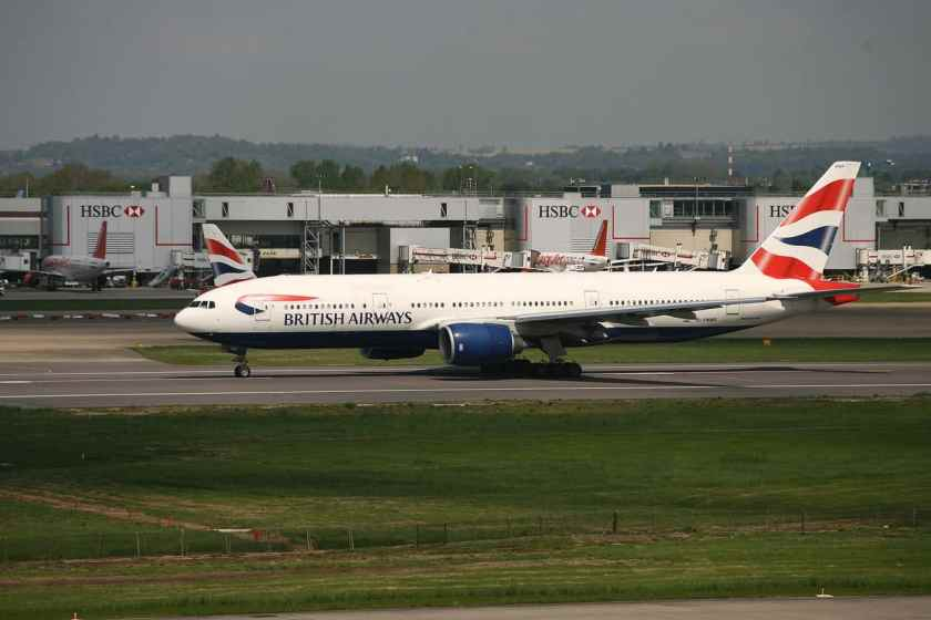 British Airways Boeing 777 at London Gatwick