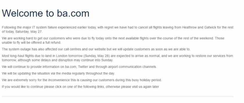 BA website, Saturday 27 May 2017