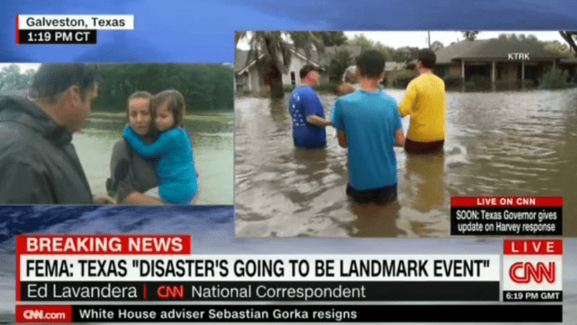 Hurricane Harvey TV Coverage (Image Credit: CNN)