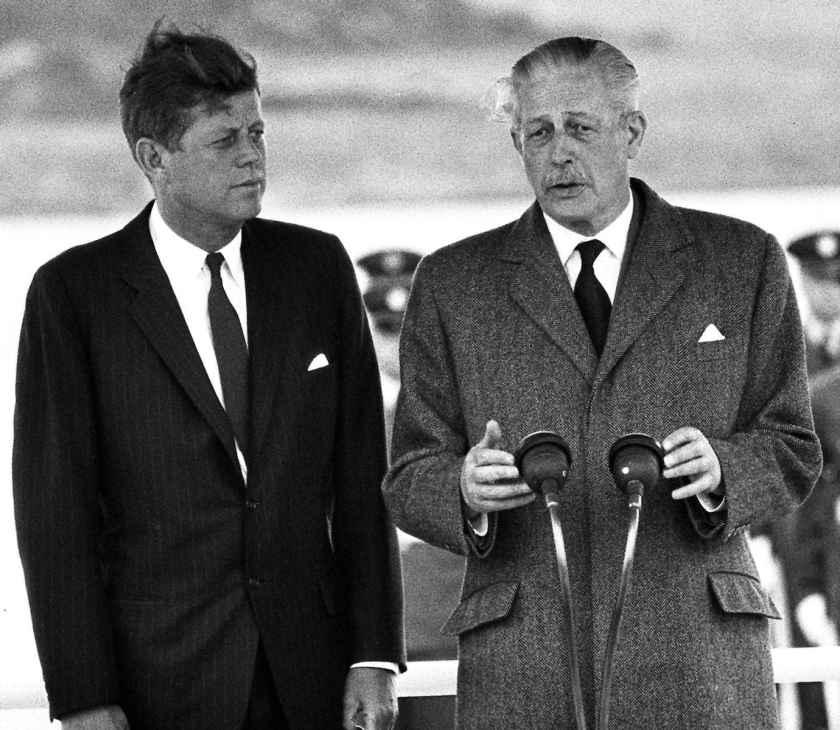 John F. Kennedy and Harold Macmillan at London Gatwick 1963