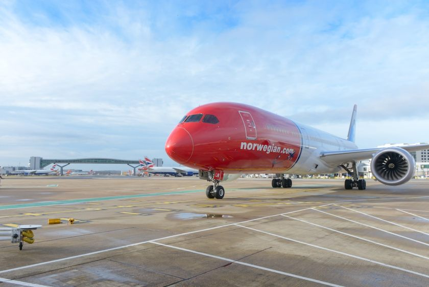 Norwegian Boeing 787 at London Gatwick