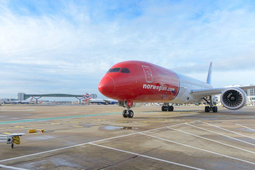 Norwegian Boeing 787 at London Gatwick