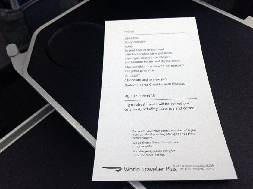 BA World Traveller Plus Menu London Heathrow - Montreal