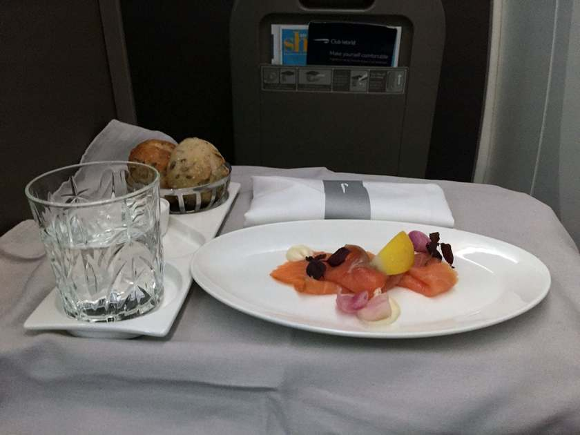 BA Club World Starter, Smoked Salmon, BA95 London Heathrow - Montreal June 2018