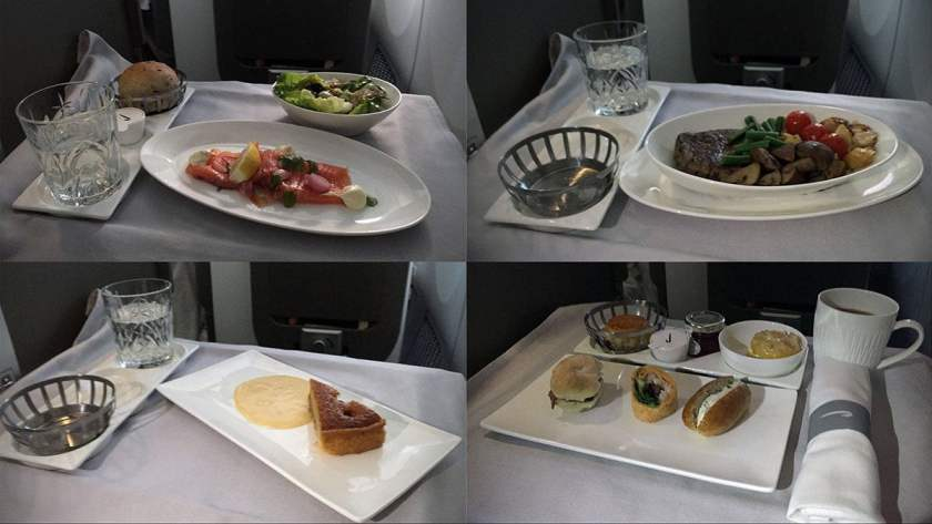 BA transatlantic Club World meal service from London Heathrow August 2018