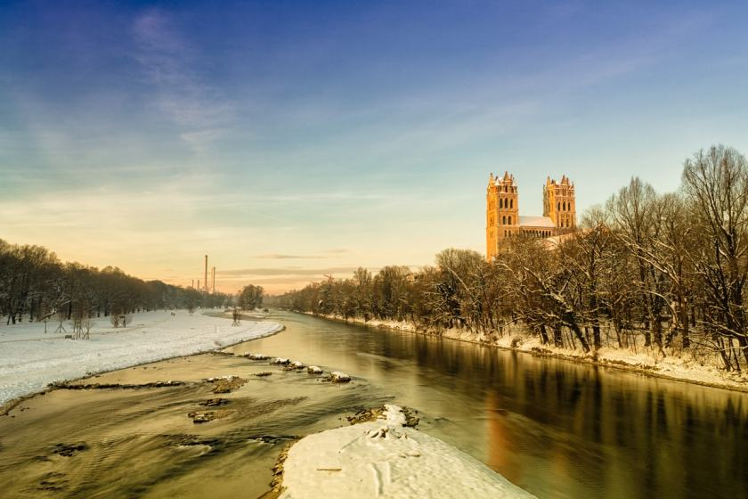 St. Maximilian Church and River Isar, Munich