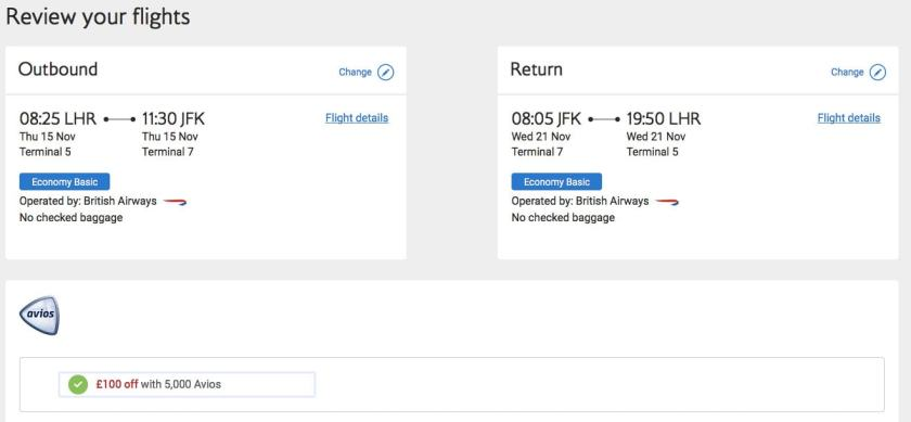 BA Executive Club £100 Discount Offer Screen Shot
