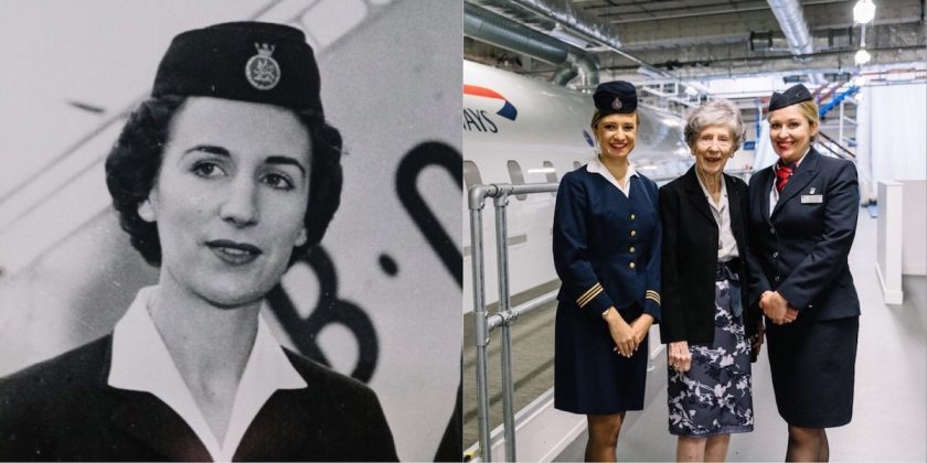 Peggy Thorne, Cabin Crew for BOAC visiting British Airways