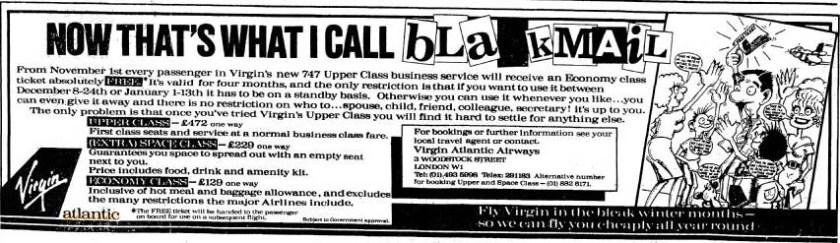 Virgin Atlantic Press Advertisement 1984
