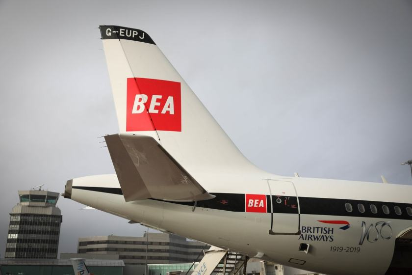 British Airways Airbus A319 aircraft in BEA livery, London Heathrow
