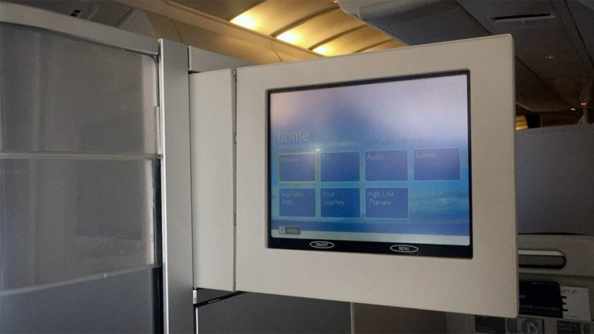 British Airways Club World Boeing 747 Entertainment Screen London Heathrow - Miami
