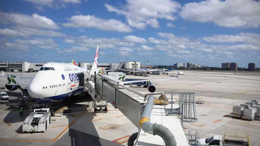 British Airways Boeing 747 aircraft, Miami International Airport