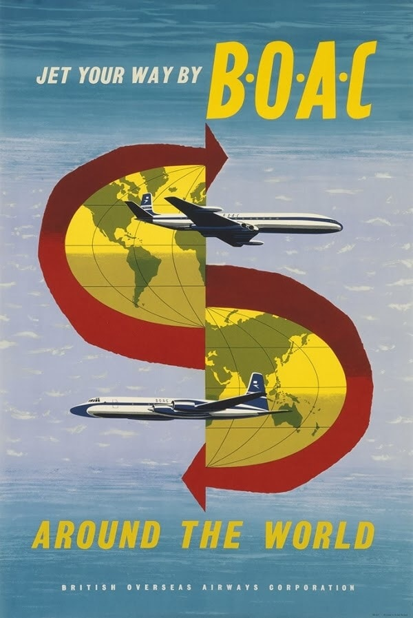 BOAC Jet Your Way Around The World Poster