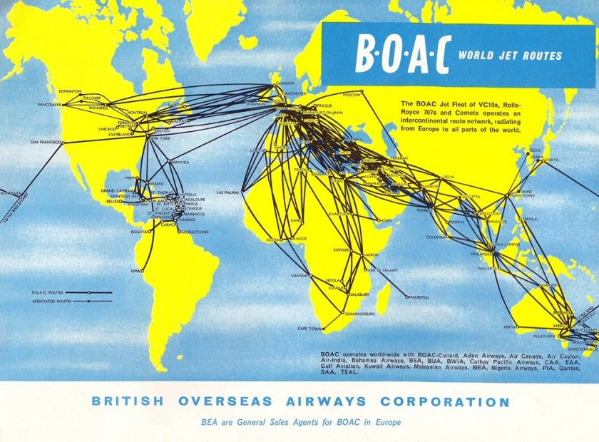 British Overseas Airways Corporation World Jet Routes Map