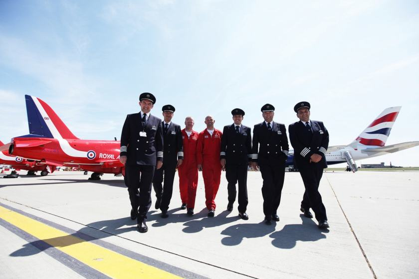 British Airways pilots pictured with the Red Arrows