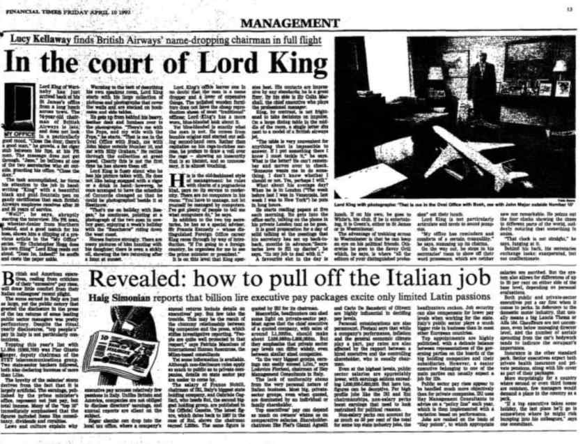 Financial Times Profile Of Lord King, April 1992