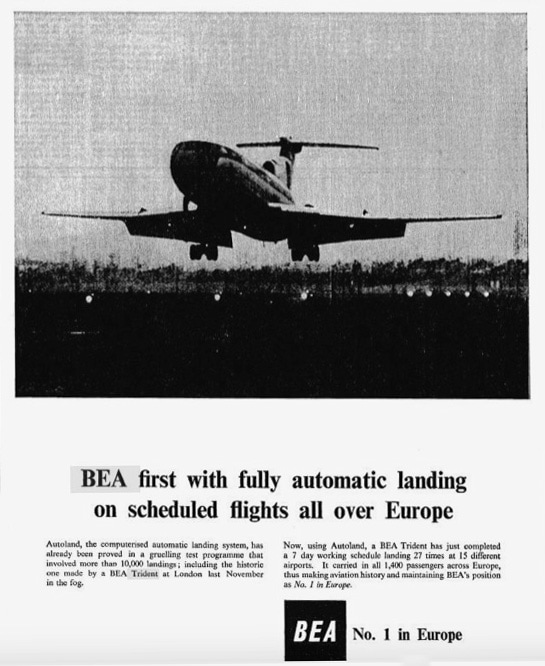BEA Trident Aircraft Advertisement May 1967