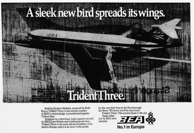 BEA Trident Three Aircraft Advertisement 1970
