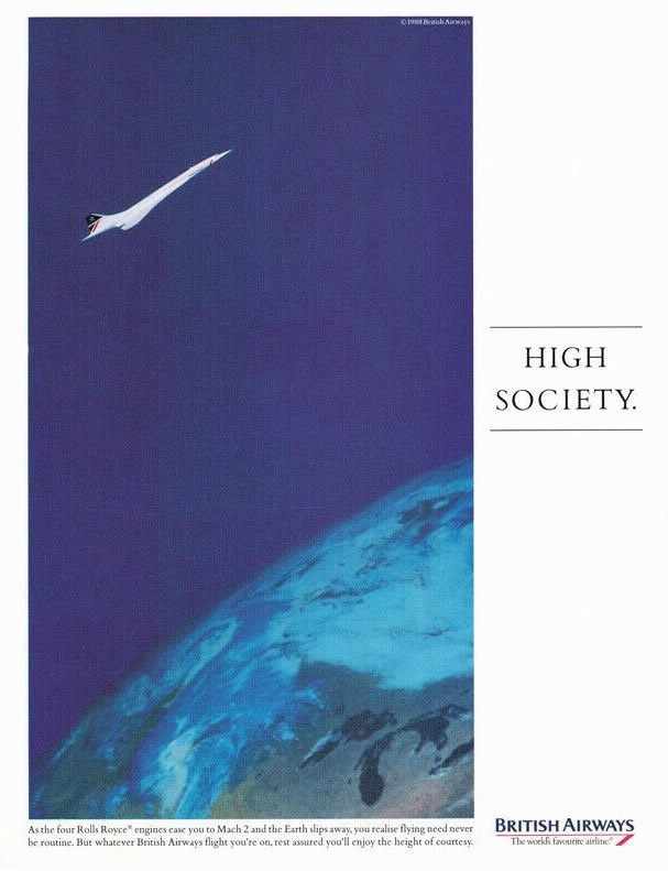 """High Society"" British Airways Press Advert 1989"