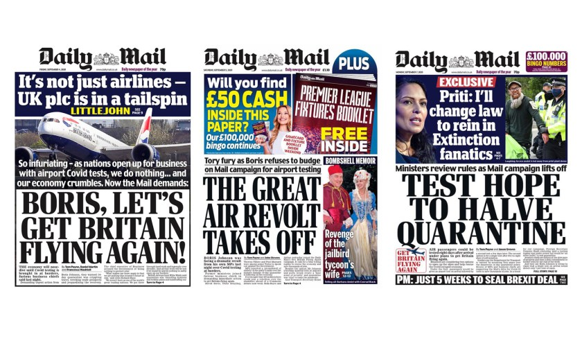 Daily Mail Front Pages, Friday 4, Saturday 5, Monday 7 September 2020