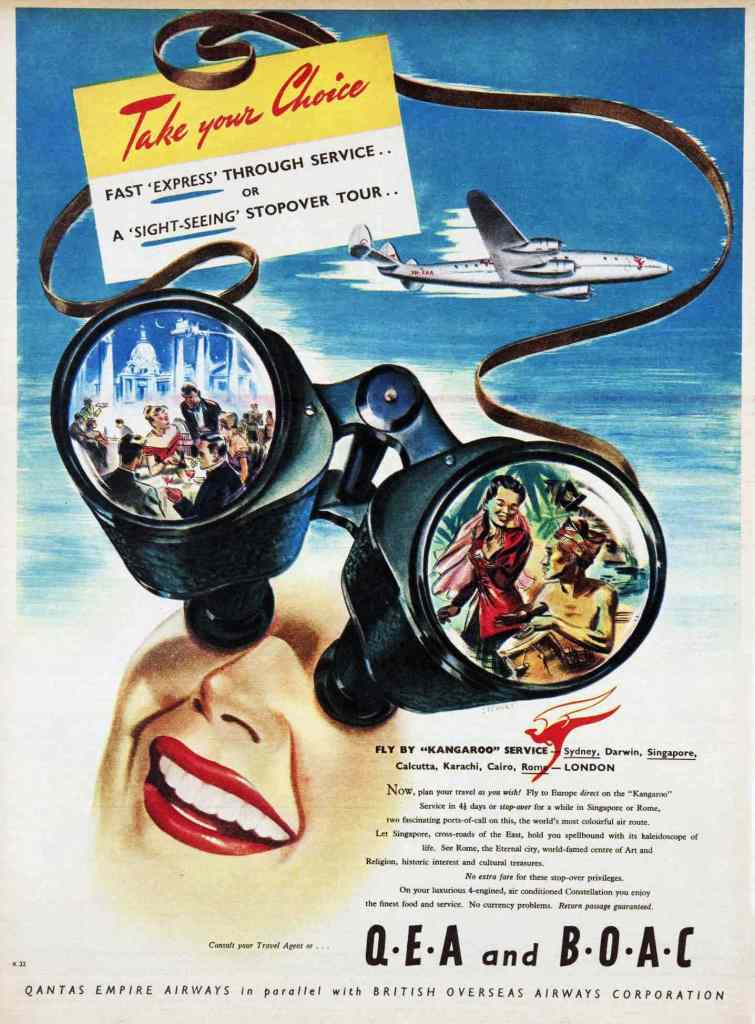 Qantas Empire Airways BOAC Kangaroo Route Advertisement, 1949