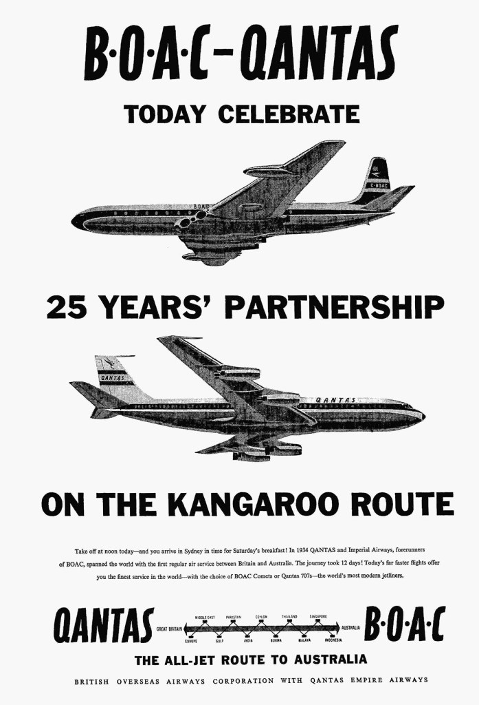 BOAC Qantas Kangaroo Route 25th Anniversary, 10 December 1959