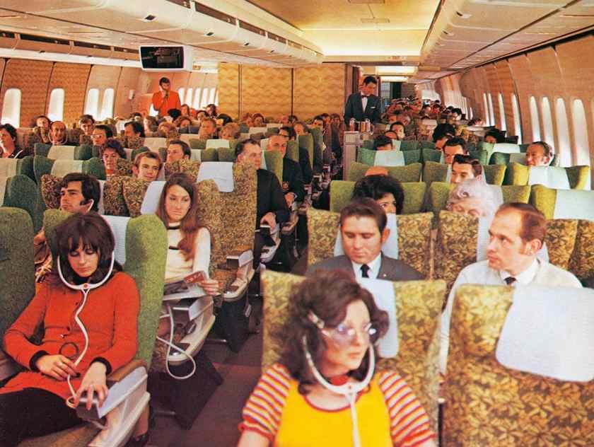 Qantas Boeing 747 Economy Class Cabin, 1970s