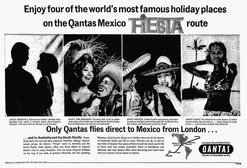 Qantas Fiesta Route, London To Sydney via Mexico City, January 1965