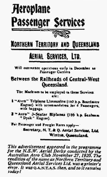 Queensland And Northern Territory Aerial Services Ltd Advertisement, New South Wales Aerial Derby Programme, November 1920