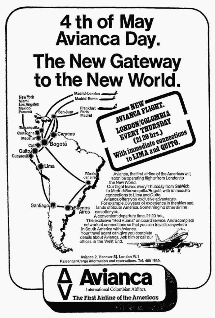 Avianca, London Gatwick - Bogota, via Madrid & Barranquilla, May 1978