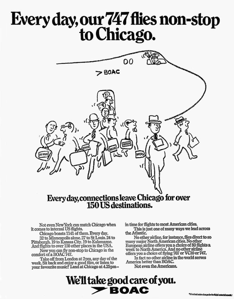 BOAC Boeing 747 Chicago Advertisement, June 1972