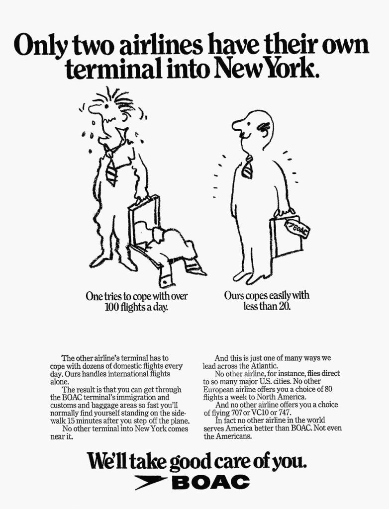 """""""Only two airlines have their own terminal into New York"""" BOAC Terminal, Kennedy Airport, New York, 1972"""