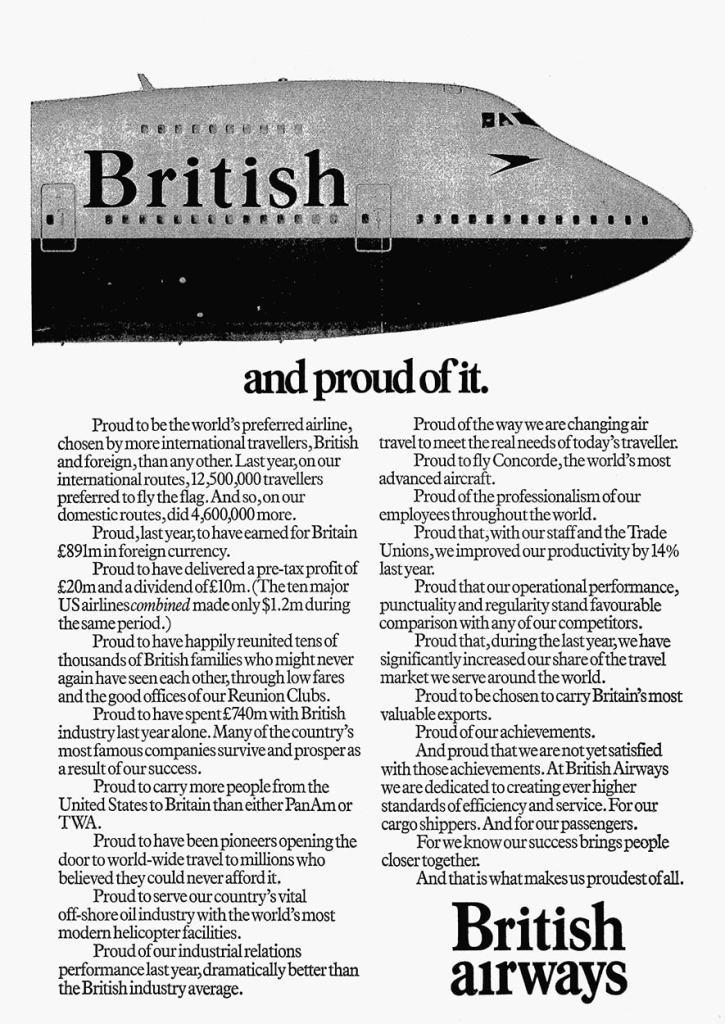 """British Airways, British and proud of it"", August 1980"