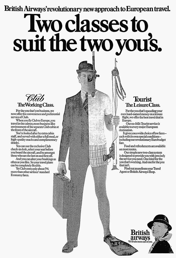 British Airways introduces Club Class on European short haul flights, 1981