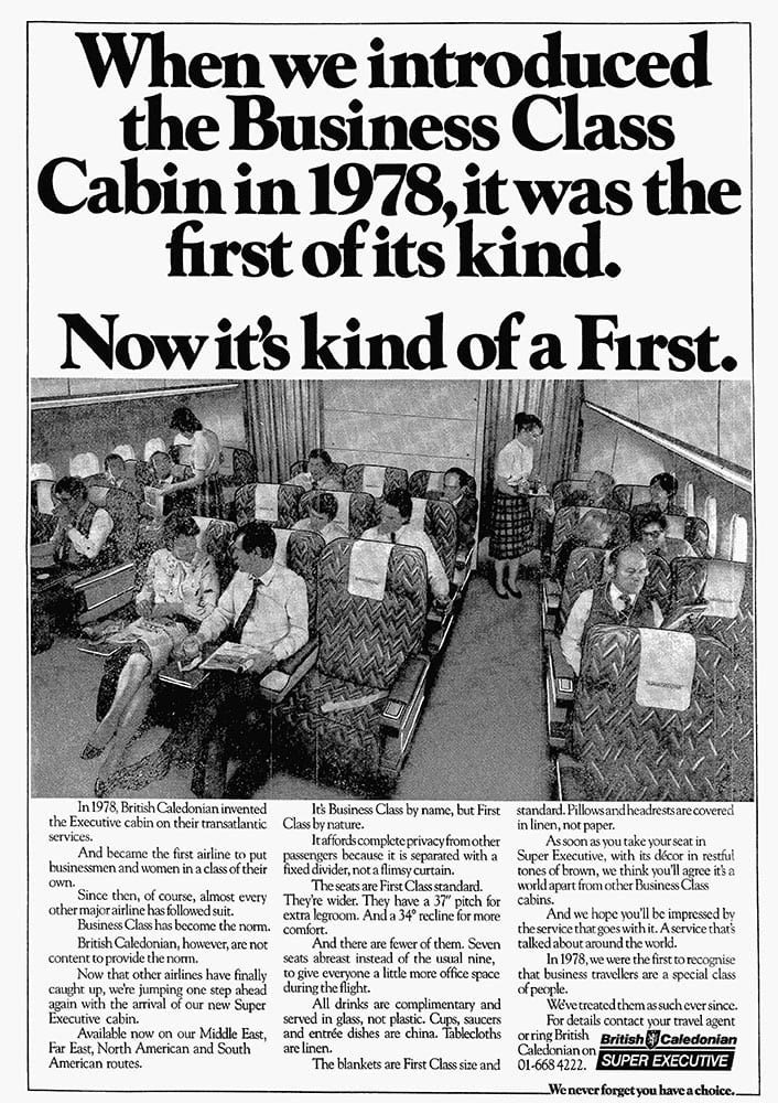 British Caledonian Business Class Cabin Advertisement, May 1983