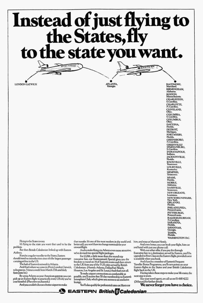 British Caledonian, London Gatwick - Atlanta, Advertisement, 1983